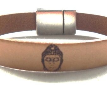 Handmade Leather Bracelet beige with little Buddha