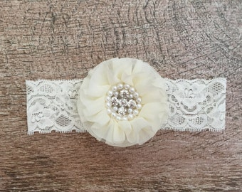 Ivory | flower | lace | headband