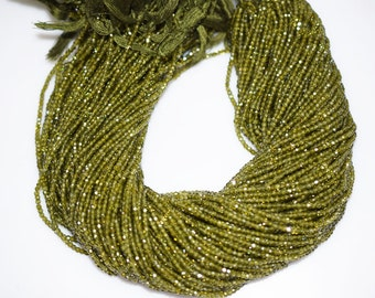 AAA Quality Olive Cubic Zirconia Faceted Rondelle Beads 13 Inch Strand ,Olive CZ Beads,Olive Roundel Beads , 2.50 mm - MC336