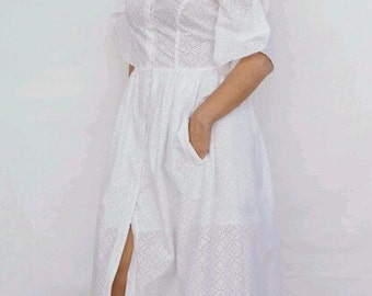 Super Sale/Kaftan White dress/with pockets/Long dress/Beachwear/100%cotton/Buttons/Summer dress/by E.N.I. handmade