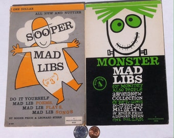2 Vintage Game Sooper Mad Libs, Monster Mad Libs, Party Games, by Roger Price & Leonard Stern, Fill in the Blank Game, Vintage Party Game