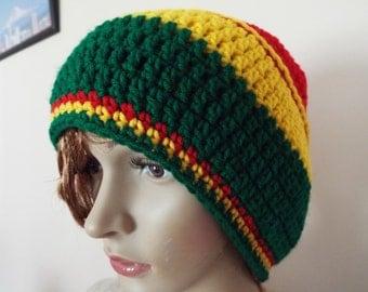 medium rasta hat, rasta hat, green, gold and red rasta tam