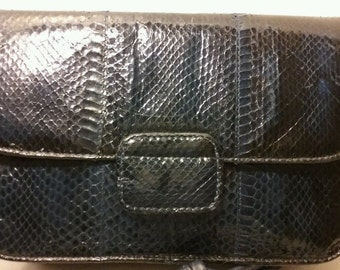 Vintage TOWANNY Blue Snakeskin Evening Clutch Purse w/Crossbody Strap