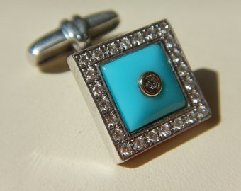 Gold  K18 cufflinks with diamond and turquoise