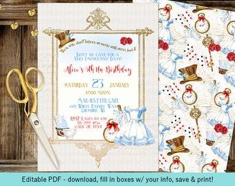 Alice in Wonderland | Tea Party Birthday Baby or Bridal Shower | Editable PDF Digital Instant Download