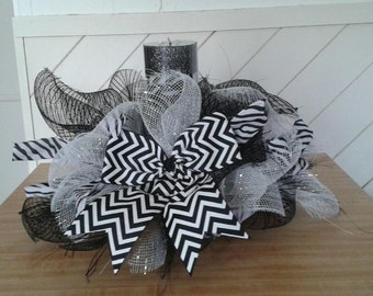 Zebra Mesh Candle Holder Black, White and Silver