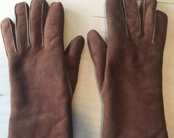 Brown Suede & White Wool Lining Gloves