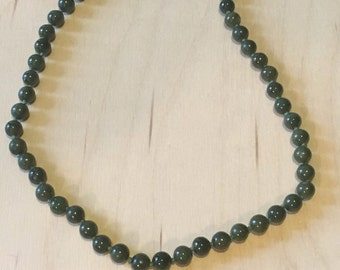 Vintage Olive Green Beaded Necklace