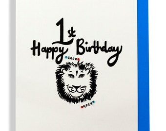 Happy 1st birthday lion hand finished greetings card