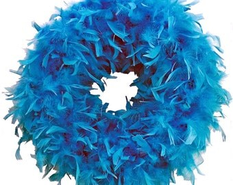 Turquoise Feather Wreath