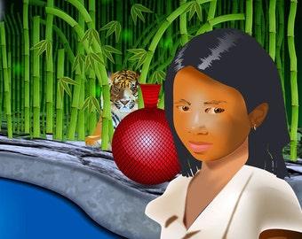 Girl and Tiger iPad Wallpaper