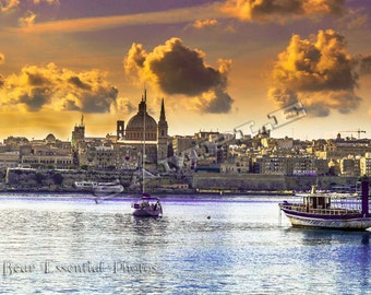 Valetta Harbour in Malta, the Dome of the Basilica of Our Lady of Mount Carmel on the skyline