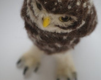 Needle felted burrowing owl