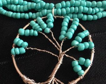 Tree of Life Pendants - Turquoise / Silver
