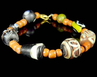 Exotic Old Pacific Rainbow Colors Melon Glass Beads Trade Wind Tribal Strand Indo Bracelet