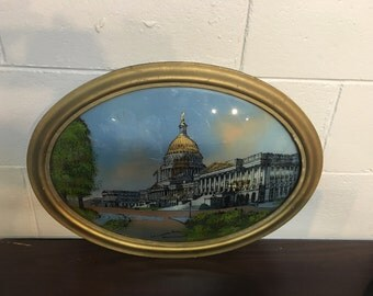 1916 US Capitol Reverse Painting on Bubble Glass.