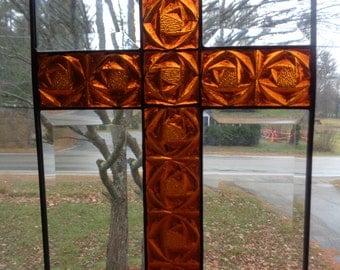 Stained glass cross window