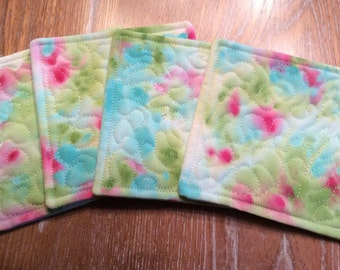 Set of 4 hand painted green, pink, and blue quilted coasters