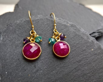 Genuine ruby earrings, gold vermeil earrings, gemstone earrings, ruby drop earrings, dainty earrings,  gift, gift for her