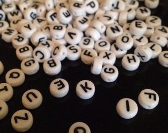 250 x acrylic letters alphabet beads beads white - 7mm - black & white - ABC white / black
