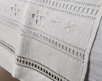 CUTWORK embroidered linen towels, hand made