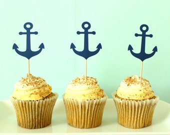 Nautical Cupcake Toppers - Anchor Cupcake Toppers -Natuical Party Decor - Anchor Party Decor - Baby Shower Cupcake Toppers