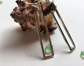 Drop /dangle/hoop/modern/rectangular /Sterling silver/earrings/silver/square/geometric