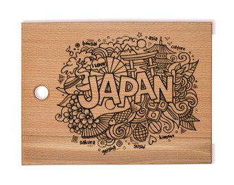 Personalized engraved Cutting Board, Gift idea, Japan
