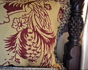 Gold and Red Decorative Pillow