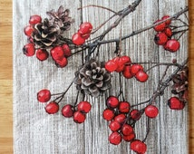 Red Berries And Pine Cones Paper Lunch Napkins Decoupage Crafts Dinner Party Four #014