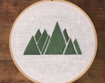 "Trees or Mountains? - Hand Embroidery Hoop - 7"" Hoop - Landscape"