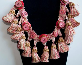 Button and Tassel Necklace