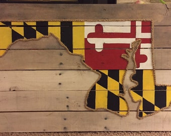 Maryland Flag in Maryland State Outline on Pallet Board