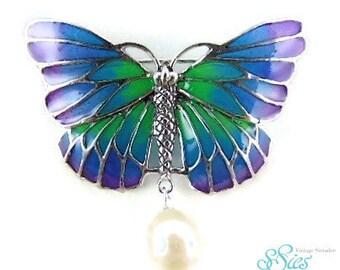 Beautiful Art Nouveau PAL-a-jour 925 Silver Butterfly brooch