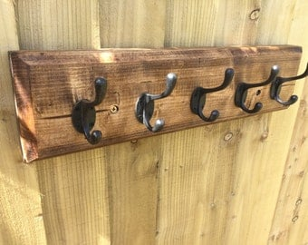 Reclaimed Rustic Coat rack with iron hooks - heavy vintage look