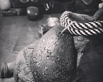 Black stone silk necklace