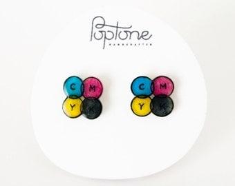 CMYK Earrings, Graphic Designer Earrings, Multicolor Studs