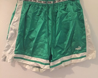 Vintage Green & White Puma Shorts