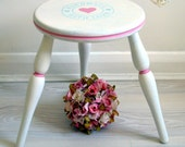 Hand Painted Handmade With Love Wooden Stool Pink Duck Egg White