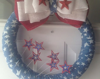 July 4th wreath, red, white, & blue wreath, patriotic wreath