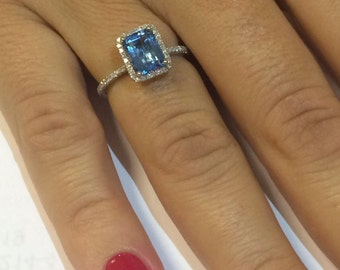14k white gold London blue topaz and diamonds ring