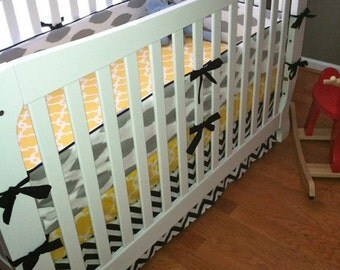 Baby Boy Custom Crib Bedding Set in Black, Yellow, Grey and White