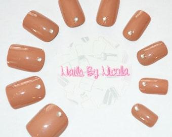Hand Painted 'Truffle Cream' Short Square False Nails with Rhinestones | Glue on Nails | Press on Nails | False Nails | Short Nails |