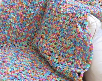 Bright Colored Crocheted Blanket