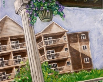 balcony view painting