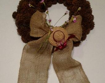 Springtime Door Wreath with Burlap Bow and Miniature Sun Hat
