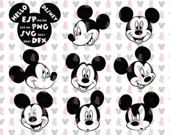 Mickey heads Clipart Disney - Cut files - Mouse Die Cuts - Svg Dxf Eps Pdf Png