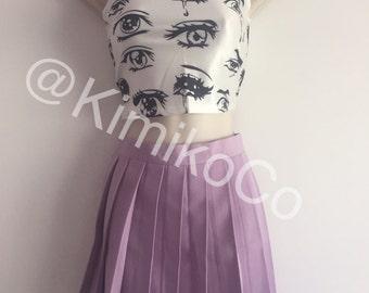 Purple high waist pleated tennis skirt