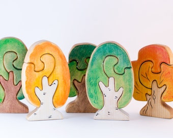 Wooden Tree Puzzle, Waldorf nature table, Gift for Toddlers and Children Puzzle Tree figurine Handmade Eco Friendly Toy Waldorf Toy