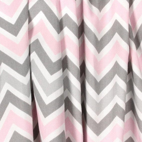 Light Baby Pink Gray Curtains Nursery Curtain Panels Chevron